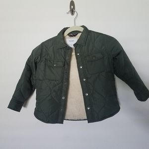 Old Navy Olive Green Fleece Lined Puffer Jacket